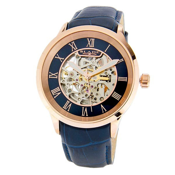 Blade men's Blue Dial Rose Gold Plated Stainless Steel Case Blue Genuine Leather Band Skeleton Automatic Mechanical Sempre Night 1