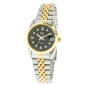Eliz Women's Black dial Two-Tone Gold plated stainless steel case and band Analog Watch ES8332L2TNT 1