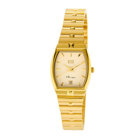 Eliz Women's Grey Dial Gold plated case and Band Analog Watch ES8565L2GGG