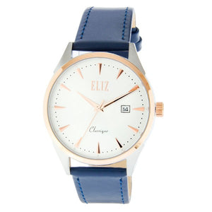 Eliz Men's White Dial Blue Genuine Leather strap Two-Tone Rose Gold plated Steel case Watch ES8633G1UWB 1