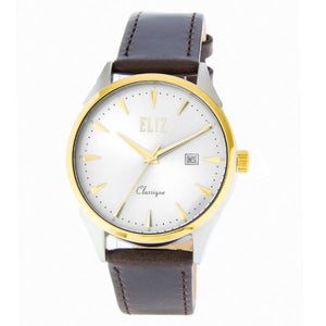 Eliz Men's White Dial Brown Genuine Leather strap Two-Tone Gold plated Steel case Watch ES8633G1TWO 1