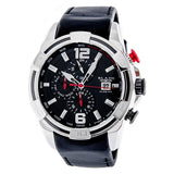 Blade men's black dial stainless steel case black leather  Dual Time Multi function with Date Window Huntsman Black 1