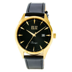 Eliz Men's Black Dial Black Genuine Leather strap Gold plated case Watch  ES8633G1GNN 1