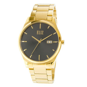 Eliz Men's Grey Dial Gold plated Stainless Steel Case and Band Watch ES8635G1GGG 1