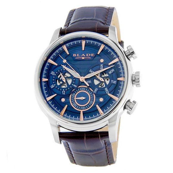 Blade men's Blue dial Stainless Steel Case Brown Genuine Leather Strap Multi Function Maestro Blue 1