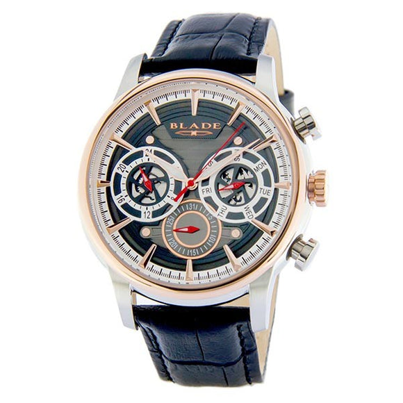 Blade men's Grey Dial Two-Tone PVD Rose Gold Plated Stainless Steel Case Black Leather Multi Function Maestro Mosaic 1