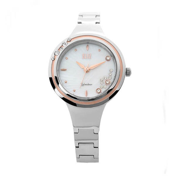 Eliz women's White Mother of pearl Dial Rose Gold plated Bezel stainless steel case and band analog watch ES8563L2UHS 1