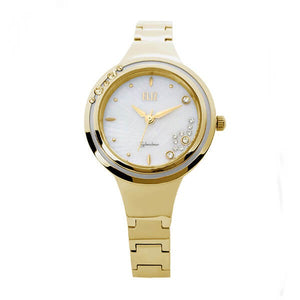 Eliz women's White Mother of pearl Dial Gold plated stainless steel case and band analog watch ES8563L2GHG 1