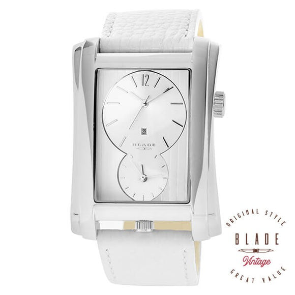 Blade men's Silver Dial White Genuine Leather Strap Stainless Steel Case - Dual Time Quartz with Date Window 10-3235GSS-SWW 1