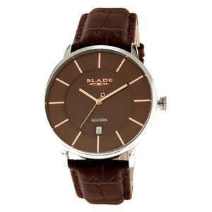 Blade men's Brown Dial Brown Genuine Leather Strap Stainless Steel Case Sphere Brown