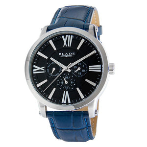 Blade men's Black Dial Stainless Steel Case Blue Genuine Leather Strap Multi Function Rise Blue 1
