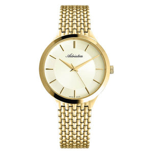Adriatica Swiss Made Mens Gold Plated Stainless Steel Watch 1276.1111Q