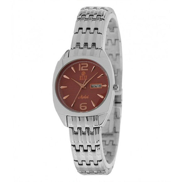 Eliz women's Brown Dial stainless steel case and band analog Watch ES15-8126L SO 1