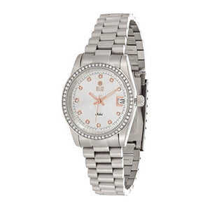 Eliz women's White mother of pearl Dial stainless steel case and band analog Watch ES15-8265L SH 1