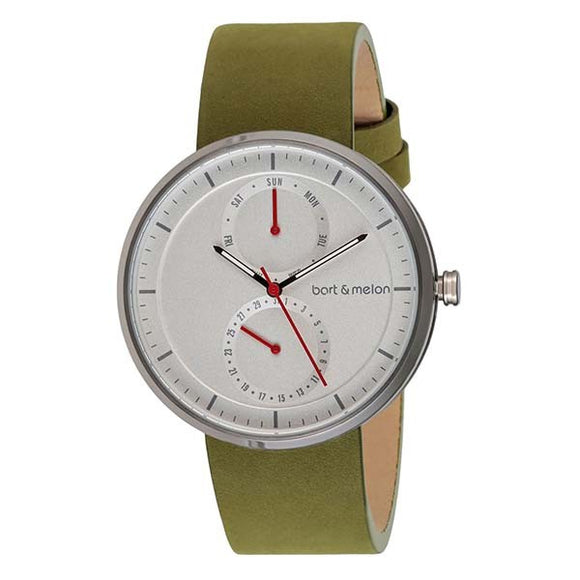 bart&melon Unisex White Dial Leather Strap Watch - 15-DG016-2AWE