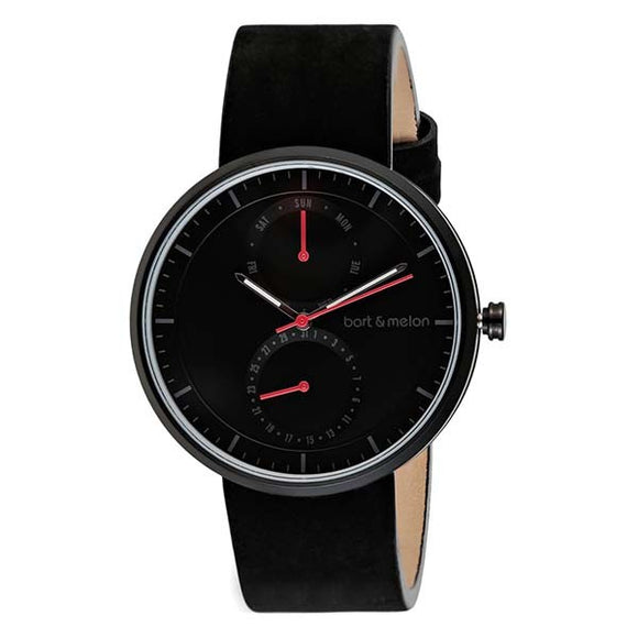 bart&melon Unisex Black Dial Leather Strap Watch - 15-DG016-2-NNN