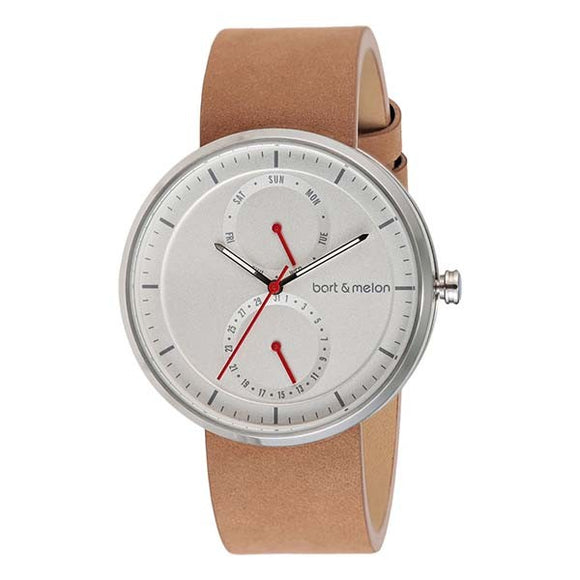 bart&melon Unisex White Dial Brown Leather Strap Watch - 15-DG016-2SWO