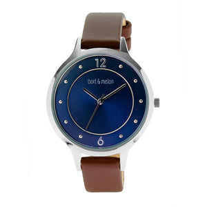 Bart & Melon Women's Blue Dial Leather Strap Watch - 18-NL018SBO