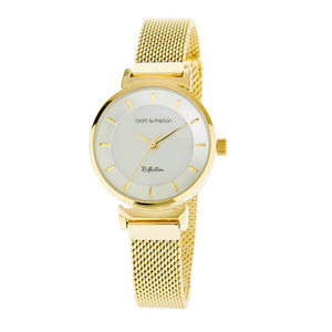 Bart & Melon Women's White Dial Gold Plated Watch - 19-NL021GHG