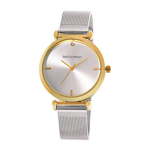 Bart & Melon Women's Silver Dial Mesh Band Watch - 19-NL027GWS