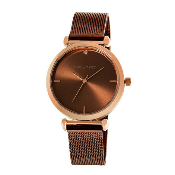 Bart & Melon Women's Brown Dial Mesh Band Watch - 19-NL027ROO