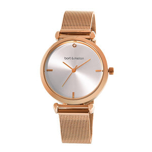 Bart & Melon Silver Dial Rose Gold Mesh Band Watch - 19-NL027RWR