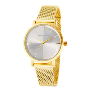 Bart & Melon Womens White Dial Gold Plated Mesh Band Watch 19-NL028GWG