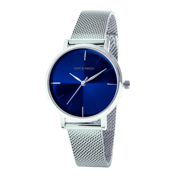 Bart & Melon Women's Blue Dial Mesh Band Watch - 19-NL028SBS
