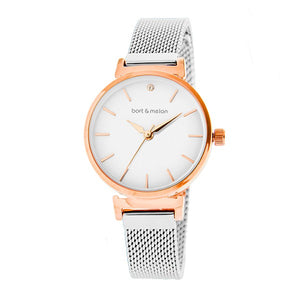 Bart & Melon White Dial Mesh Band Watch - 19-NL029RWS