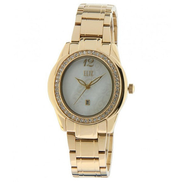 Eliz women's Mother of pearl Dial gold plated case and band analog watch ES25-8163L-GH 1