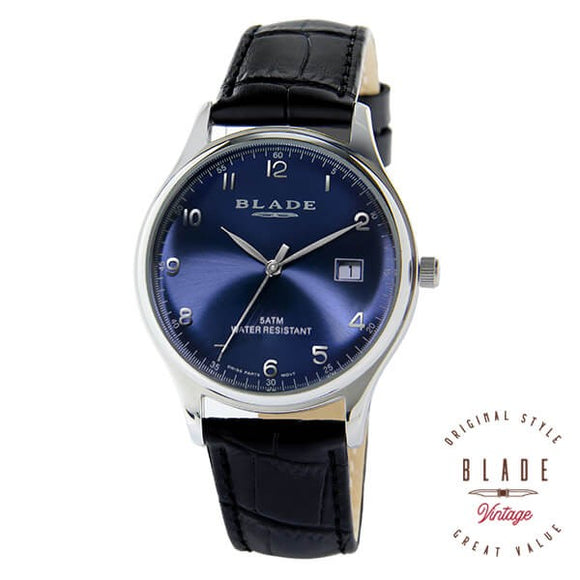 Blade men's Blue Dial Black Genuine Leather Strap Stainless Steel Case Quartz with Date Window  2010GSS-SBN 1