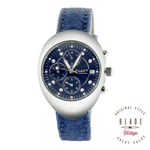 Blade women's Blue Dial Blue Cloth upper Genuine Leather Lining Strap Stainless Steel Case Chronograph with Date Window 2060LSS-SBB 1