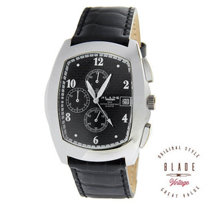 Blade men's Black Dial Black Genuine Leather StrapStainless Steel Case Chronograph with Date Window 2075GSSL-SNN 1