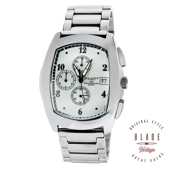 Blade men's Silver Dial Stainless Steel Case and Band  Chronograph with Date Window 2075gssm-sws 1