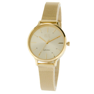 Eliz women's Champagne Dial Gold plated case and mesh band analog watch ES25-8626L-GCG 1