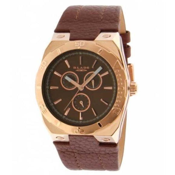Blade men's Brown Dial Stainless Steel Case - PVD Rose Gold Plated Brown Genuine Leather Strap Multi function 3404G1ROO 1