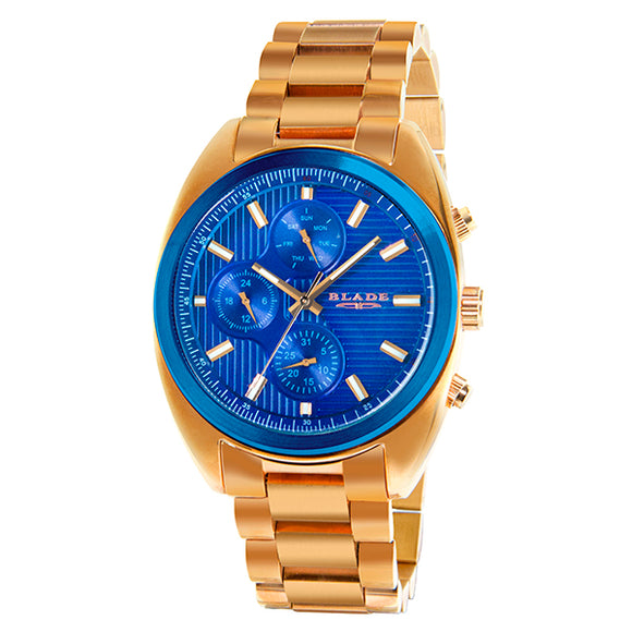 BLADE Mens Multifunction Rose Gold Stainless Steel Watch-30-3444G RBR 1