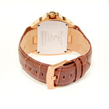 Blade Men's Rose Gold Plated Stainless Steel and Genuine Leather Band Analog Watch 30-3181G RWO 3
