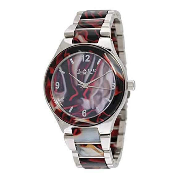 Blade Women's Acetate Dial Stainless Steel Band & Case With Acetate Analog Watch 15-3198L Red 1