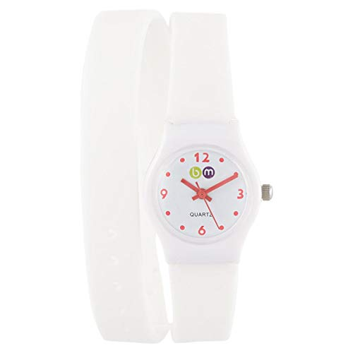 Bart & Melon Women's White Dial White Polycarbonate Case XL silicon Band Analog Watch 11-NL004 -WR