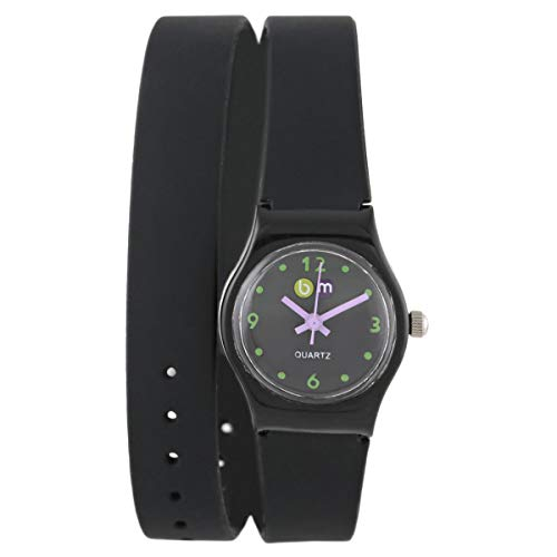 Bart & Melon Women's Black Dial Black Polycarbonate Case XL silicon Band Analog Watch 11-NL004 NV