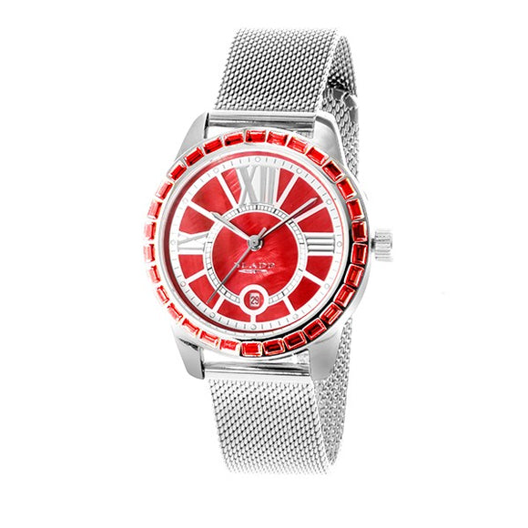 Blade womens stainless steel case red dial mesh strap calender 3333l2srs 1