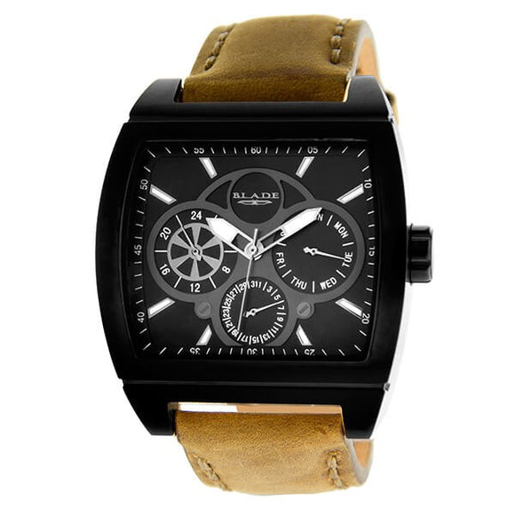 Blade Men's Black Dial Stainless Steel Case Tan Leather Strap Multifunction Watch 20-3392GSS-NNO 1