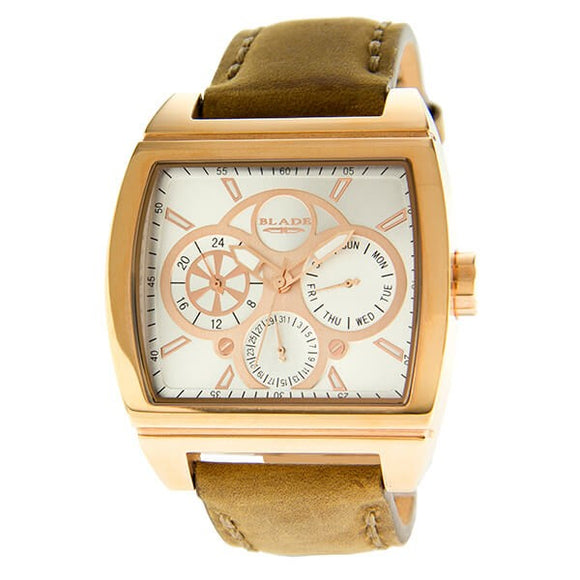 Blade Men's Silver Dial Rose Gold Stainless Steel Case Tan Leather Strap Multifunction Watch 30-3392GSS-RWO 1