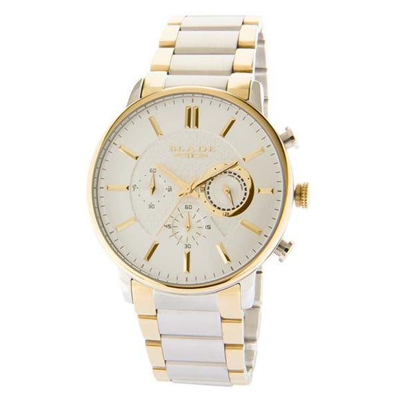 Blade men's Silver Dial Stainless Steel Case and Band Two-Tone PVD Gold Plating Chronograph Sphere SS Chrono Ivory 1