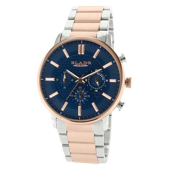 Blade men's Blue Dial  Stainless Steel Case and Band Two-Tone PVD Rose Gold Plating Chronograph Sphere SS Chrono 1