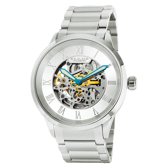 Blade men's White Dial Stainless Steel Case and Band Skeleton Automatic Mechanical Sempre SS White 1