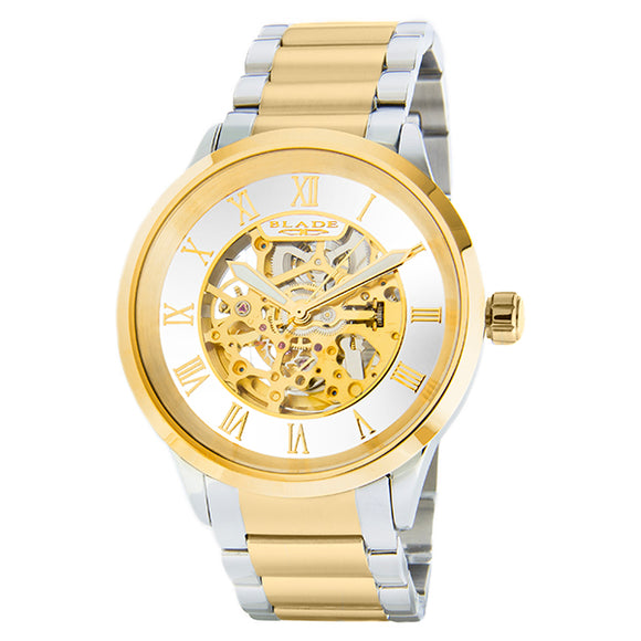 Blade men's White Dial Two-Tone PVD Gold Plated Case and Band Skeleton Automatic Mechanical Sempre SS Ivory 1