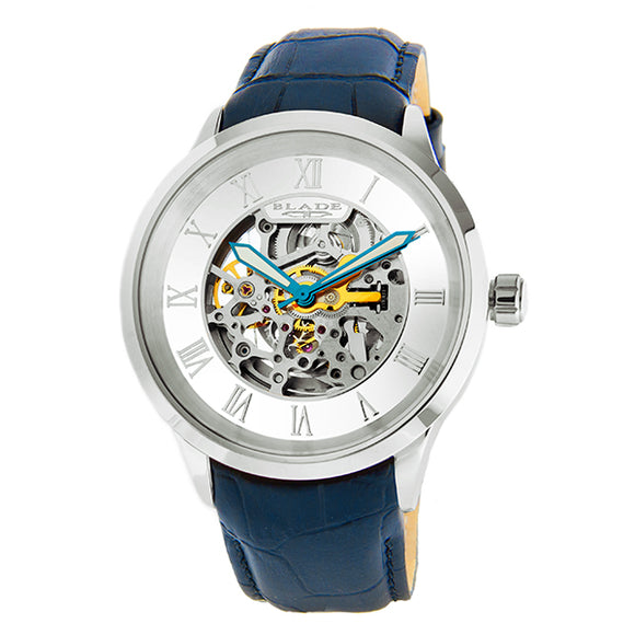 Blade men's White Dial Stainless Steal case Blue Genuine Leather Band Skeleton Automatic Mechanical Sempre Cobalt 1