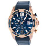 Blade men's Blue dial PVD Rose Gold plated stainless steel case blue leather Dual Time Multi function with Date Window Huntsman Night 2